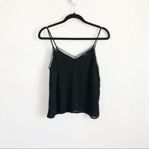 Forever 21 Black Chiffon Lacy Cami